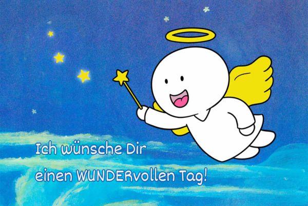 Engelige Grüße - Paul & Lilli Schutzengel - Ich wünsche Dir einen wundervollen Tag - Engelkärtchen dunkelblau VS - by atalantes spirit