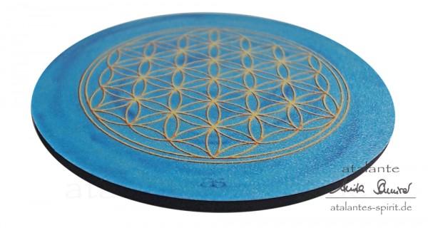 Blume des Lebens Untersetzer | Farbe hellblau | Kehlchakra Hals-Chakra | seitliche Ansicht | designed by atalantes spirit®