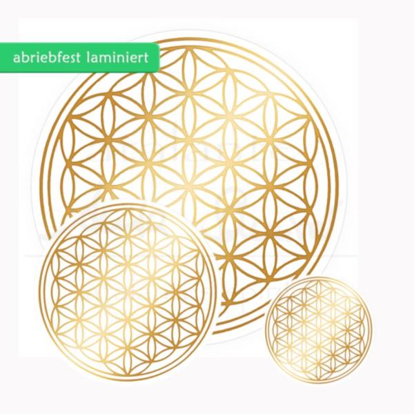 Blume des Lebens Aufkleber SET 1 x 3 & 1 x 5 & 1 x 9 cm | Glänzender Golddruck auf Transparentfolie | zusätzlich abriebfest laminiert | Farbe gold | designed by atalantes spirit®