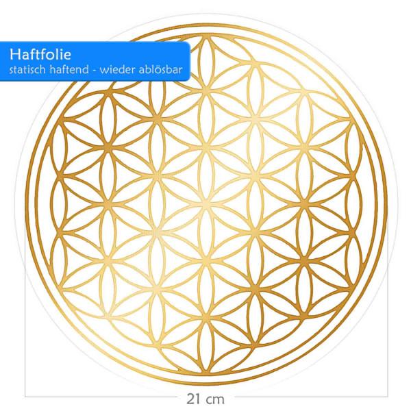 Blume des Lebens Haftfolie - Glänzende Prägung auf Transparentfolie | Farbe gold | 21 cm Durchmesser | Adhäsivfolie, selbsthaftend & wiederablösbar | designed by atalantes spirit®