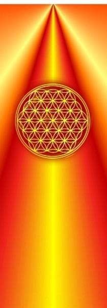 Blume des Lebens Lesezeichen | Motiv: orange-gelbe Strahlen | designed by atalantes spirit®