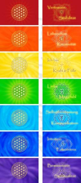 Blume des Lebens Energiekärtchen | 7 Chakrenfarben im SET | designed by atalantes spirit®
