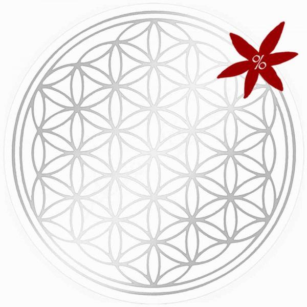 Aufkleber SILBER 9 cm SET = 5 Stück | Blume des Lebens - II. Wahl | B-Ware