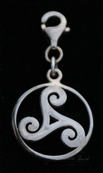 Triskel Spirale Charm-Anhänger | 925er Silber