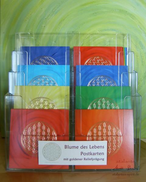 Acryldisplay | Postkarten mit Reliefprägung, Motiv: Blume des Lebens | designed by atalantes spirit®