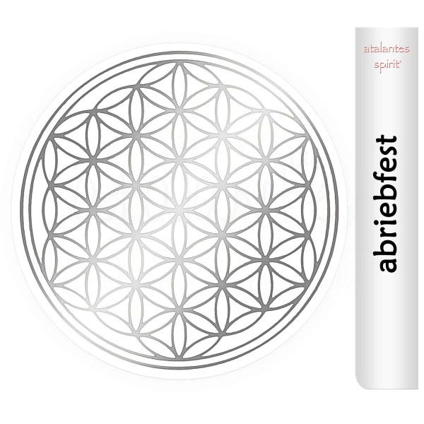 Blume des Lebens Aufkleber | Glänzender Silberdruck auf Transparentfolie | abriebfest | Farbe silber | Rückseite silber | designed by atalantes spirit®