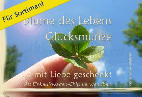 """Glücksmünzen-Kärtchen Blume des Lebens """"Nur für Dich"""" designed by atalantes spirit"""