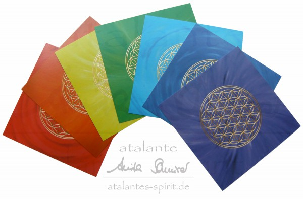 Blume des Lebens Postkarten mit goldener Reliefprägung | 7 Farben im SET | designed by atalantes spirit®