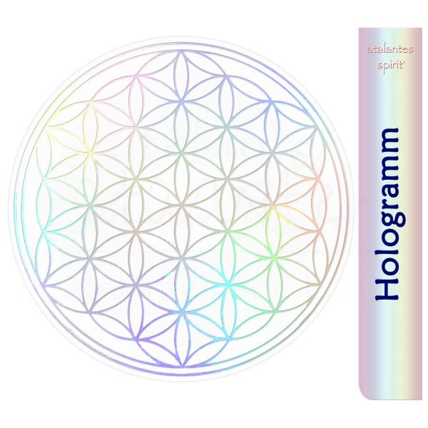 Blume des Lebens Aufkleber metallic - Prägung auf Transparentfolie - abriebfest | Hologramm | designed by atalantes spirit®