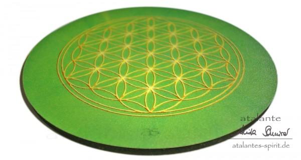 Blume des Lebens Untersetzer | Farbe grün | Herzchakra | seitliche Ansicht | designed by atalantes spirit®