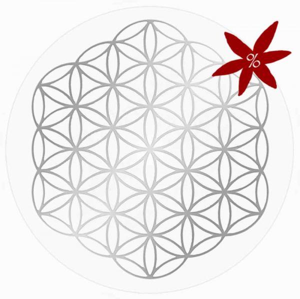 Aufkleber SILBER 3 cm SET = 10 Stück | Blume des Lebens ohne Außenkreise - II. Wahl | B-Ware