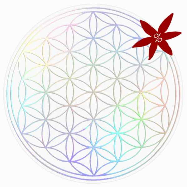 Aufkleber HOLOGRAMM 5 cm SET = 7 Stück   Blume des Lebens - II. Wahl   B-Ware