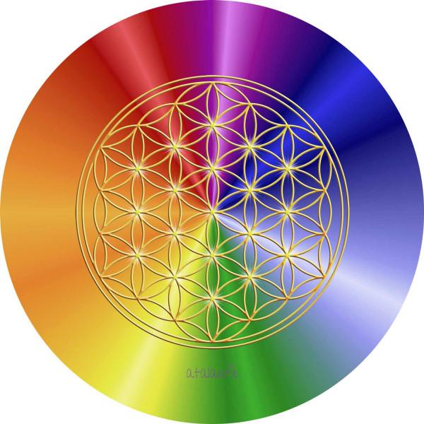 Blume des Lebens Mauspad | Motiv Rainbow | alle Chakren | designed by atalantes spirit®