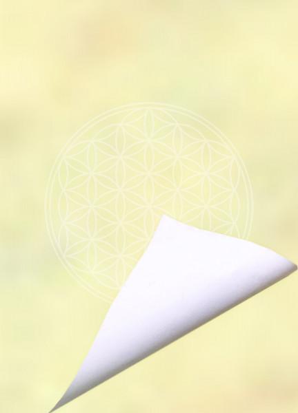 Blume des Lebens Notizblock Yellow Spirit | DIN A6 | Vorderseite gelb | Rueckseite weiß | designed by atalantes spirit®