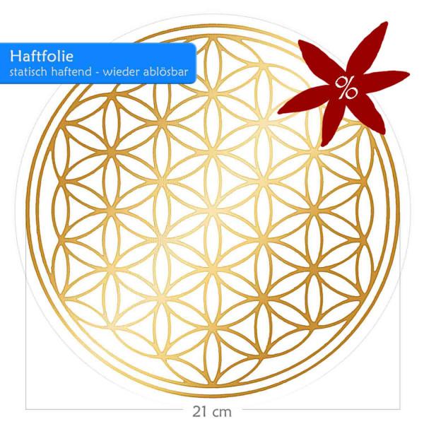Blume des Lebens Haftfolie - Glänzende Prägung auf Transparentfolie | Farbe gold | 21 cm Durchmesser | Adhäsivfolie, selbsthaftend & wiederablösbar, II. Wahl | B-Ware | designed by atalantes spirit®