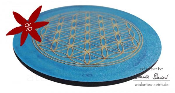 Blume des Lebens Untersetzer | Farbe hellblau | Kehlchakra Hals-Chakra | seitliche Ansicht | II. Wahl | designed by atalantes spirit®