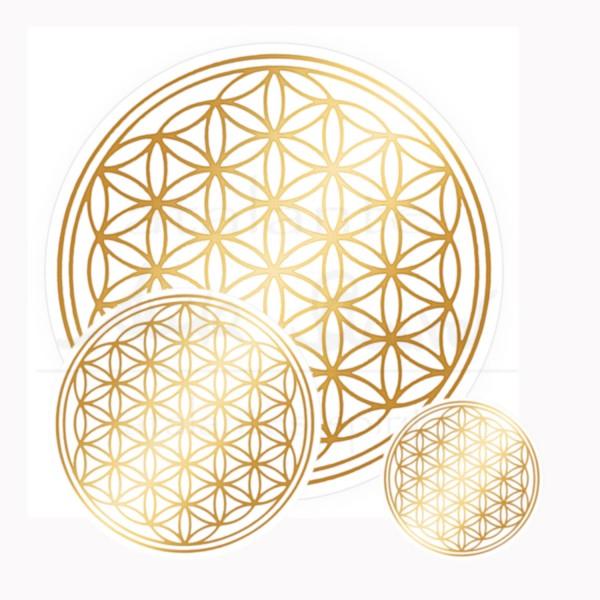 Blume des Lebens Aufkleber SET  1 x 3 & 1 x 5 & 1 x 9 cm | Druck auf Transparentfolie | Farbe gold | designed by atalantes spirit®