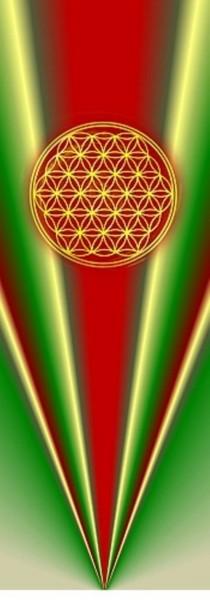 Blume des Lebens Lesezeichen | Motiv: rot-grüne Strahlen | designed by atalantes spirit®
