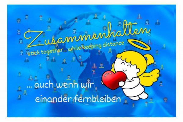 Engelige Grüße - Paul & Lilli Schutzengel -Zusammenhalten - Engelkärtchen blau VS - by atalantes spirit