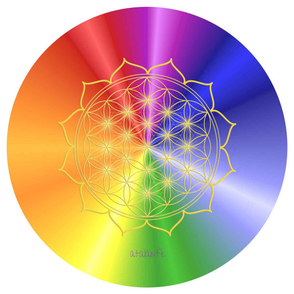 HerzBlume des Lebens Mauspad | Motiv Rainbow | alle Chakren | designed by atalantes spirit®