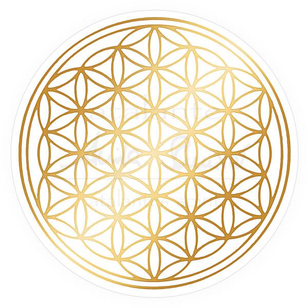 Blume des Lebens Aufkleber - Golddruck auf Transparentfolie | Farbe gold | in verschiedenen Größen | designed by atalantes spirit®