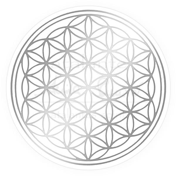 Blume des Lebens Aufkleber - Silberdruck auf Transparentfolie | Farbe silber | in verschiedenen Größen | designed by atalantes spirit®