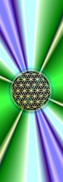 Blume des Lebens Lesezeichen | Motiv: violett-grüne Strahlen | designed by atalantes spirit®