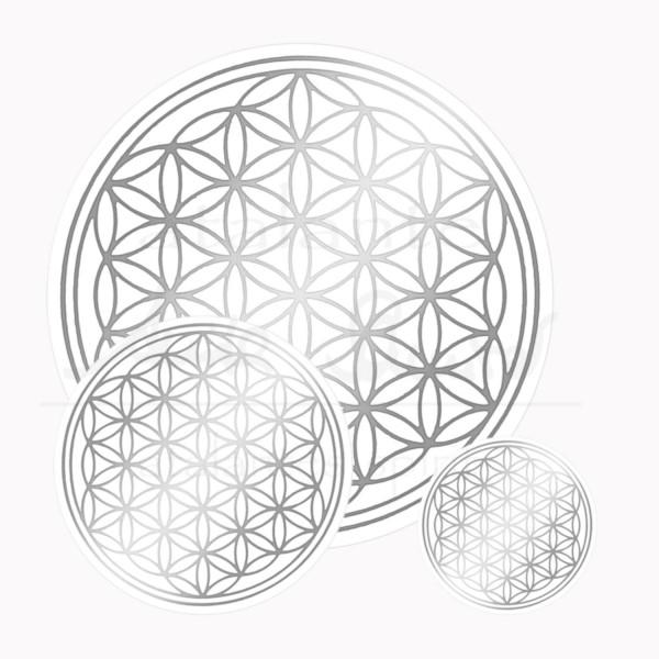 Blume des Lebens Aufkleber SET 1 x 3 & 1 x 5 & 1 x 9 cm | Druck auf Transparentfolie | Farbe silber | designed by atalantes spirit®