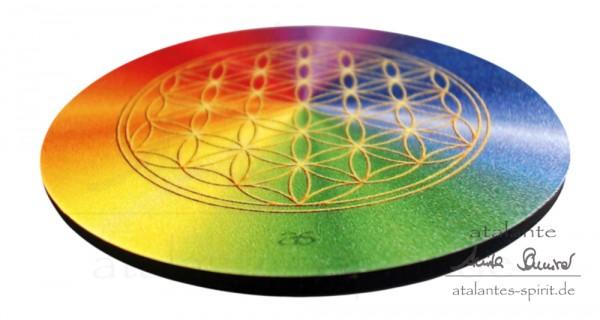 Blume des Lebens Untersetzer | Farbe rainbow | alle Chakren | designed by atalantes spirit®