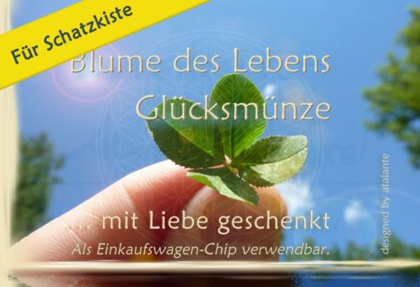 """Glücksmünzen-Kärtchen für Schatzkiste Blume des Lebens """"Nur für Dich"""" designed by atalantes spirit"""