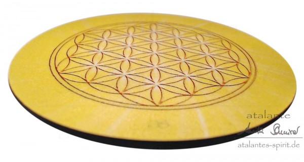 Blume des Lebens Untersetzer | Farbe gelb | Solarplexus-Chakra | seitliche Ansicht | designed by atalantes spirit®
