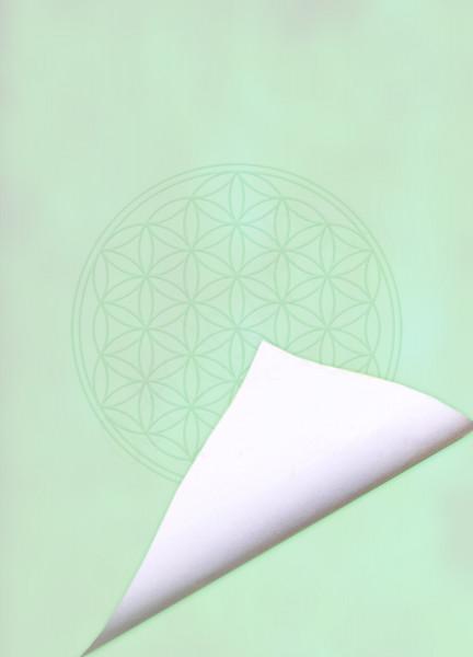 Blume des Lebens Notizblock Green Harmony | DIN A6 | Vorderseite grün | Rueckseite weiß | designed by atalantes spirit®