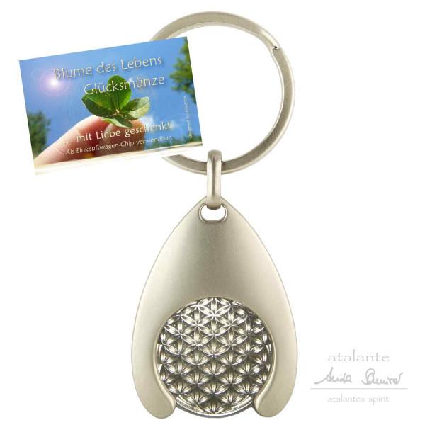 Schlüsselanhänger mit Glücksmünze | Farbe silber | Motiv Blume des Lebens | designed by atalantes spirit®