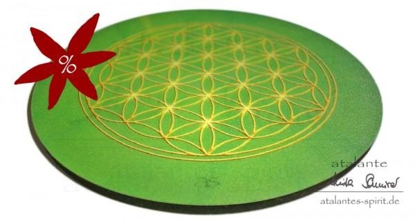 Blume des Lebens Untersetzer | Farbe grün | Herzchakra | seitliche Ansicht | II. Wahl | designed by atalantes spirit®