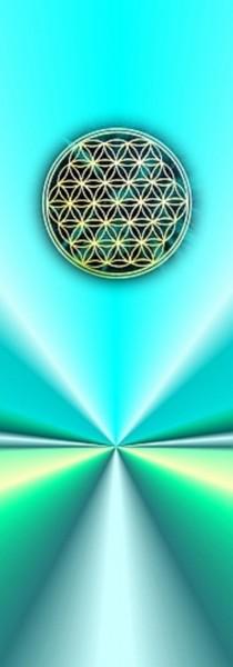 Blume des Lebens Lesezeichen | Motiv: türkise Strahlen | designed by atalantes spirit®